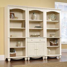 Library Set & Amazon.com: Sauder Harbor View Storage Cabinet Antiqued White ...