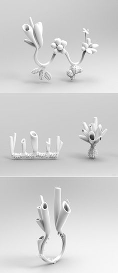 Sculptural White Rings inspired by organic form; contemporary jewellery design // Dian Yu