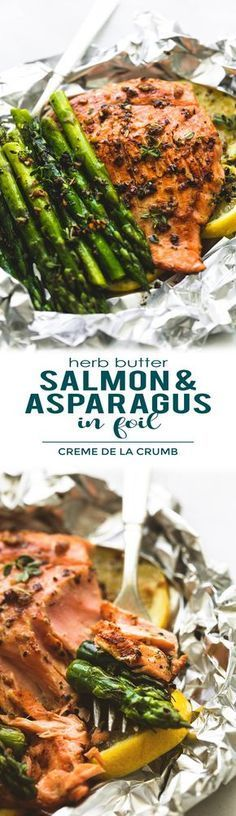 Easy, healthy, garlic herb butter salmon and asparagus foil packs are a quick and tasty 30 minute meal for summer nights, camping, and cookouts. The flaky salmon and tender asparagus will melt in your mouth! | lecremedelacrumb.com