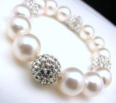 bridal wedding Swarovski white round pearl with by DesignByKara, via Etsy.