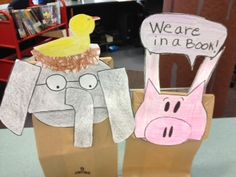 Craft of the Week:  Elephant and Piggie puppets from the books by Mo Willems
