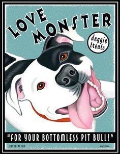 Pit Bull Terrier Art Love Monster Doggie