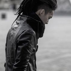 Futuristic post apocalyptic leather jacket with faux hawk