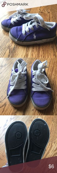 Polo by RL Purple canvas sneakers Good condition. Used. White sole area is dirty. Shown in pictures.  Size 8 Polo by Ralph Lauren Shoes Sneakers