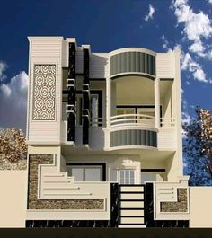 Unique House Design, House Front Design, Cool House Designs, 3 Storey House Design, Bungalow House Design, Home Stairs Design, Model House Plan, Indian House Plans, Dream House Exterior