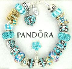 Authentic pandora silver charm bracelet with charms turquoise butterfly #Pandoralobsterclaspclaw #European