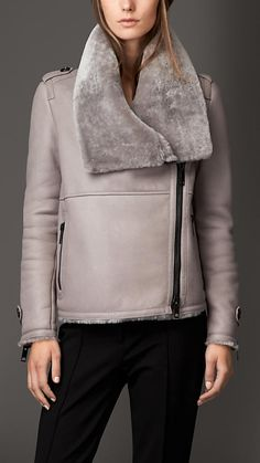 Pale grey Shearling Aviator Jacket with Oversize Collar - Image 1
