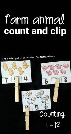 Printable counting game :: animal number cards :: farm count and clip game