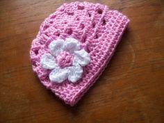Newborn Diaper Cover and Flowered Openwork Beanie Set  - flamingo, white - Handmade Photography Prop. $32.00, via Etsy.