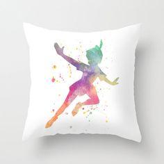 Peter Pan, Campanellino, Peter Pan acquerello Throw copricuscino, Cuscino decorativo coprire, Nursery Decor, Home Decor, decorazione camera da letto, regalo