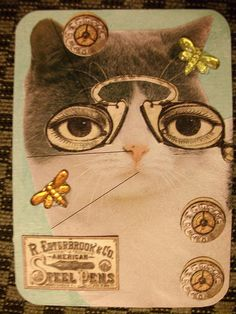 Steampunk Cat ATC Cat with Steampunk Hat on Vintage. Creative, fun & interesting cat in a top hat wearing round steam punk glasses.  Great use of images.  This is great mixed media art.  Paper craft DIY. Amazing artwork for such a small paper.  Paper craft DIY.