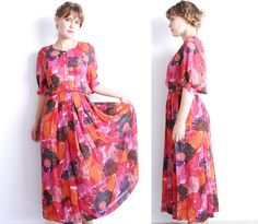 Vintage 80's Skirt and Blouse Red Floral Dress by MjauVintage