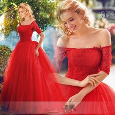 Red Lace Short Sleeves Wedding Dresses Quinceanera Prom Party Pageant Ball Gown  #victor10188 #BallGown #Cocktail