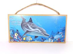 NAUTICAL DOLPHIN SWIMMING IN THE WILD SEA LIFE DECORATIVE BEACH BAR WALL SIGN