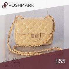 """'Elisa' Night Out CB Clutch - BEIGE Color: BEIGE Your big night on the town won't be complete without our 'Elisa' Cross Body Clutch.   Available in 5 colors,  Beige, Black, Blue, Olive, and Pink to match any outfit.   Features  *Cross body stitching  *Twist Lock front flap  *Shoulder strap  *Gold accent metal detail buckle and strap  Material: Polyurethane and mixed metals  Size measurements: 7"""" Width 5"""" Height 3"""" Depth   Modabyboutique Moda Boutique Moda SF SFmoda wholesale @wholesales…"""