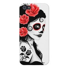 Day of the Dead Sugar Skull Girl - white Case For iPhone 5
