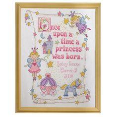 Amazon.com: Bucilla Counted Cross Stitch Birth Record Kit, 10 by 13-Inch, 45328 Princess