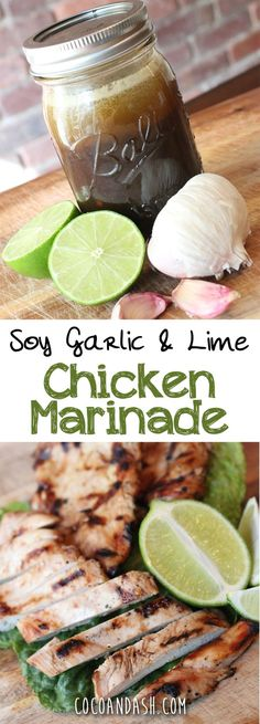This makes the juiciest tastiest chicken you'll ever have! PERFECT FOR A COOKOUT! This Garlic Soy & Lime Chicken Marinade is by far, my favorite chicken marinade! The soy in the marinade acts as a brine and makes this chicken come out incredibly juicy! Garlic Lime Chicken, Lime Marinade For Chicken, Marinade Sauce, Chicken Marinade Healthy, Lime Chicken Marinades, Seasoning For Chicken, Grilling Chicken, Homemade Marinades For Chicken, Chicken Injection Recipes