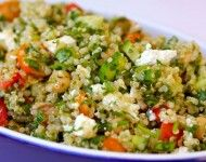 Quinoa Tabouli w/ Feta Cheese & Garbanzo Beans.  Get the full recipe here: http://cleananddelicious.com/2011/07/12/quinoa-tabouli-w-feta-cheese-and-garbanzo-beans/