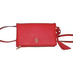 """Tory Burch Robinson Pebbled Mini Fold Over Tory Burch Robinson Pebbled Mini Fold Over Crossbody 100% Authentic  Color Kir Royale / Red Style: 32159148 Retail: $225.00  This weekend-ready crossbody from Tory Burch is easy and chic in luxe pebbled leather and gold-tone logo hardware. Detachable adjustable crossbody strap Zip closure, fold over flap with magnetic snap closure; lined Interior slip compartment 8.1""""L x 4.9""""H; 23"""" strap drop Pebbled leather Imported Tory Burch Bags Crossbody Bags"""