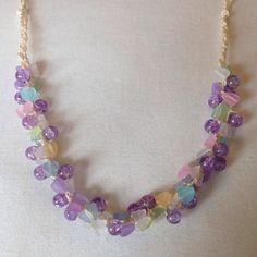 Crochet necklace Daydreamer beaded crochet by DollyDaydreamCrochet