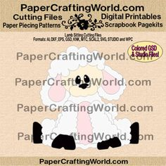 "Lamb Sitting ""SVG-Type"" Cutting files in: AI, DXF, EPS, COLORED GSD, KNK, MTC, SCAL2, SVG, STUDIO and WPC formats. http://www.papercraftingworld.com/item_1191/Lamb-Sitting-CF.htm"