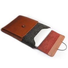 d-park Envelope Sleeve Bag Woolfelt Genuine Leather Case For 16 ~ 17 Inch Laptop | eBay