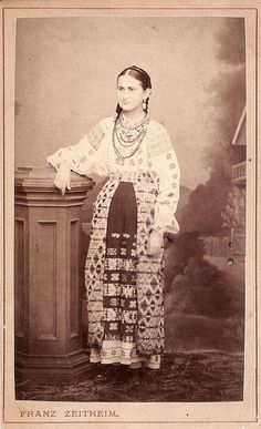 romanian folk costume Traditional Dresses, Traditional Art, Flower Fashion, Fashion Art, Vintage Photographs, Vintage Photos, Complex Art, Romanian Girls, Folk Embroidery