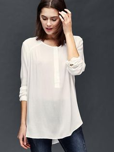 Shirred long sleeve blouse | Gap