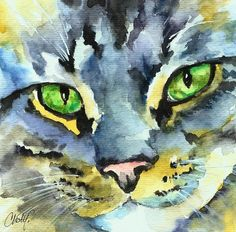 ~Gray Tabby Cat~~ Painting by Christy Freeman