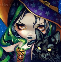 Faces of Faery 114 halloween witch black cat big by strangeling, $13.99```````````  *Happy Halloween my friends!!*