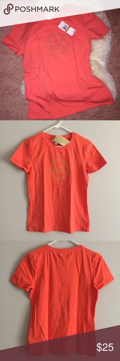 NWT MK Hot Coral Bling Logo Tee Brand New! With Tags! Very Nice Basic Tee, Comfy & True To Size. Michael Kors Tops Tees - Short Sleeve
