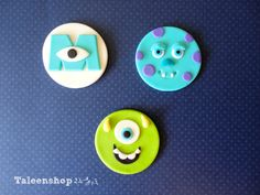 Monster Inc. cupcake toppers /fondant by Taleenshop on Etsy, $25.00 Fondant Toppers, Fondant Cupcakes, Cupcake Toppers, Monsters Inc Cupcakes, Monster Cupcakes, Birthday Bash, Birthday Ideas, Monster University Birthday, Disney Cupcakes