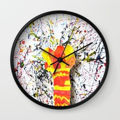 """DESCRIPTION Available in natural wood, black or white frames, our 10"""" diameter unique Wall Clocks feature a high-impact plexiglass crystal face and a backside hook for easy hanging. Choose black or white hands to match your wall clock frame and art design choice. Clock sits 1.75"""" deep and requires 1 AA battery (not included).  ABOUT THE ART"""