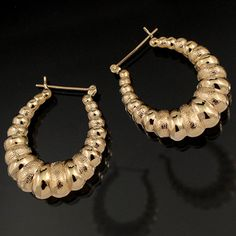 Shop 14KY Dual Texture Puffed Hoop Earrings 1 1/3 inch and other jewelry, art, coins, rugs and real estate at www.aantv.com