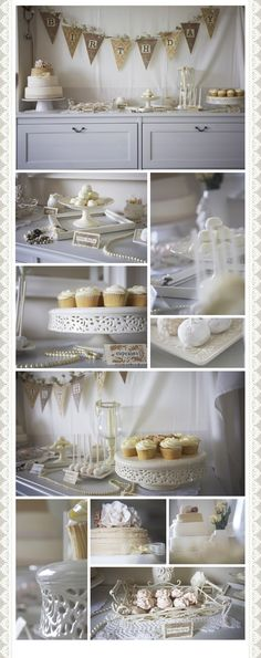 White and cream shabby chic dessert table    Wedding ideas, birthday ideas  Click on the website to get more dessert table ideas for your events.