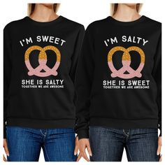 Sweet And Salty BFF Matching Black Sweatshirts - Trivoshop - MEDIUM / X-SMALL