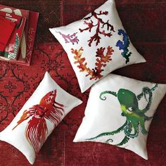 Silk pillow covers. Fish, octopus and coral prints.