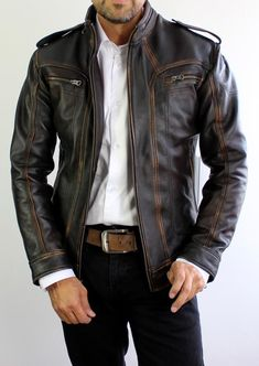 Our 2018 Leather jacket updates the café racer style with distinctive distressed job and a streamlined silhouette. Subtle distressing is applied to the leather around the edges of the jacket. Distressed Leather Jacket, Leather Men, Napa Leather, Leather Jackets, Vintage Leather, Style Brut, Men's Style, Menswear, Mens Fashion