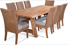 The Farmhouse 5 Pc Dining Set made of Solid Cedar Wood and Natural Wicker Chairs - Model comes in many stain and fabric options to blend in with any kitchen or dining room