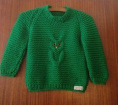 Grøn uglesweater.
