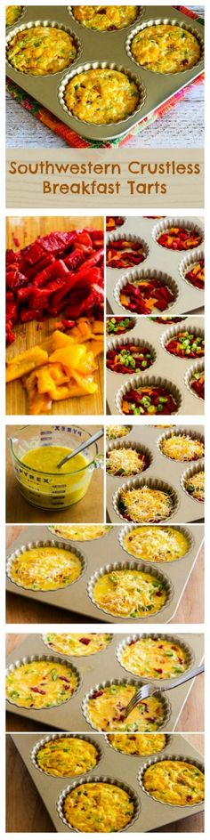 Southwestern Crustless Breakfast Tarts are a delicious breakfast that's Low-Carb, Gluten-Free, and Vegetarian. If you don't have a fancy tart pan like the one I got when someone gave me a gift certificate, you can make these in a jumbo muffin pan. Breakfast Items, Low Carb Breakfast, Breakfast Dishes, Breakfast Recipes, Best Low Carb Recipes, Clean Recipes, Lchf, Keto, Paleo