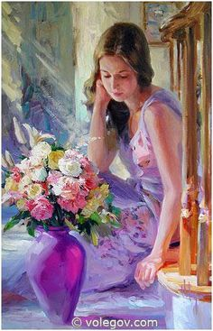 """The Purple Vase"" by Vladimir Volegov, painting, cm, oil on canvas Woman Painting, Figure Painting, Painting & Drawing, Paintings I Love, Beautiful Paintings, Vladimir Volegov, Purple Vase, Foto Art, Russian Art"