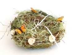Rustic Ring Nest, Wedding Ring Bearers Pillow, Woodland Moss Butterfly, Vintage Roses and Feather Butterfly, romantic orange green and cream on Etsy, $40.00