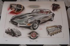 Classic Car News – Classic Car News Pics And Videos From Around The World Jaguar E Type, Jaguar Xk, Jaguar Cars, Car Illustration, Illustrations, Automobile, Automotive Art, Car Painting, My Ride