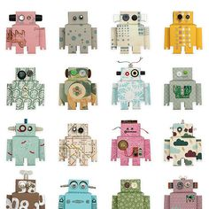 Wandtattoos - Coolste Roboter-Tapete - ein Designerstück von Wandpiraten bei DaWanda