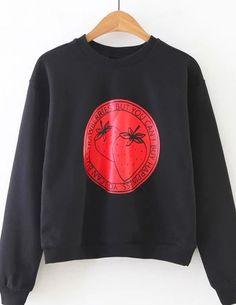 Black Strawberry Print Casual Sweatshirt