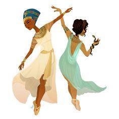 Ballerina Nefertiti & Cleopatra Art Print by Art by MynaBirdy - X-Small Character Inspiration, Character Art, Character Design, Egyptian Drawings, Egyptian Queen Nefertiti, Egypt Art, Historical Art, Fantasy, Cleopatra