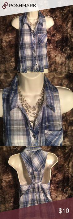 Blue plaid button up sleeveless shirt Blue plaid button up sleeveless shirt. Size Small (juniors). Girl Krazy Tops Button Down Shirts