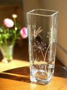 Sandblasted Glass, Etched Glass, Glass Vase, Mason Jar Crafts, Bottle Crafts, Wine Bottle Images, Glass Etching Designs, Jar Design, Cut Bottles
